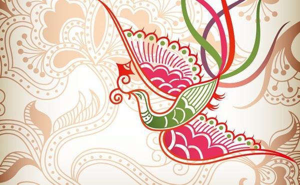 phoenix textile background classical vignette flowers decoration