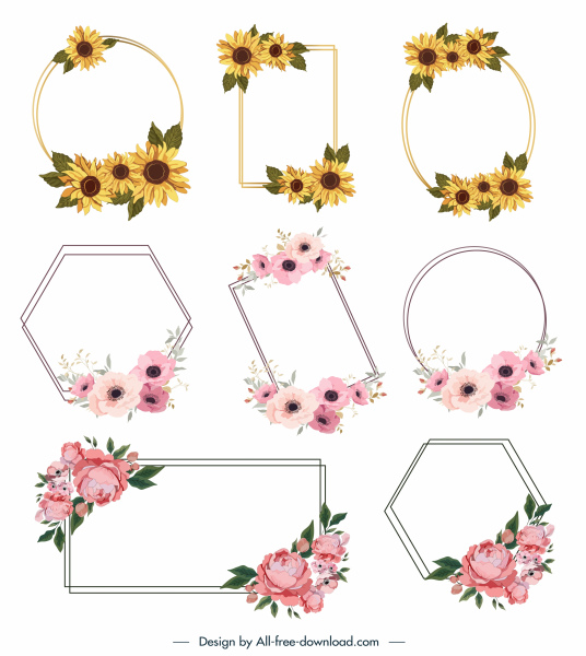 floral border templates elegant geometric shapes botanical decor