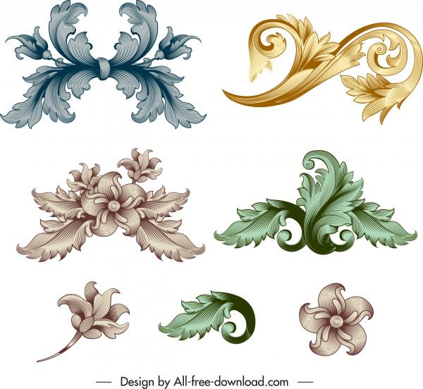 floral decorative elements elegant shiny decor vintage baroque
