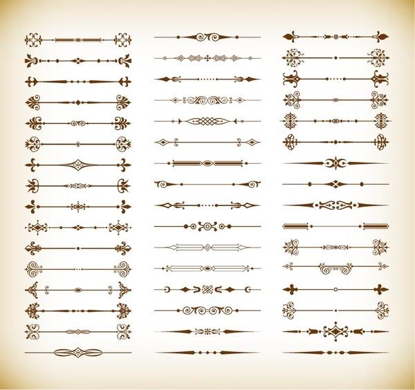 floral design elements vintage dividers vector set