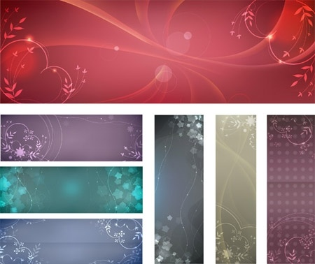 sparkling floral background sets various classical colored styles