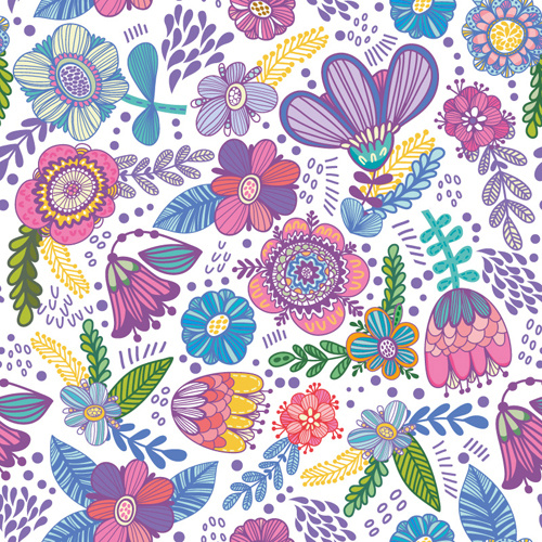 floral gentle pattern hand drawn vector