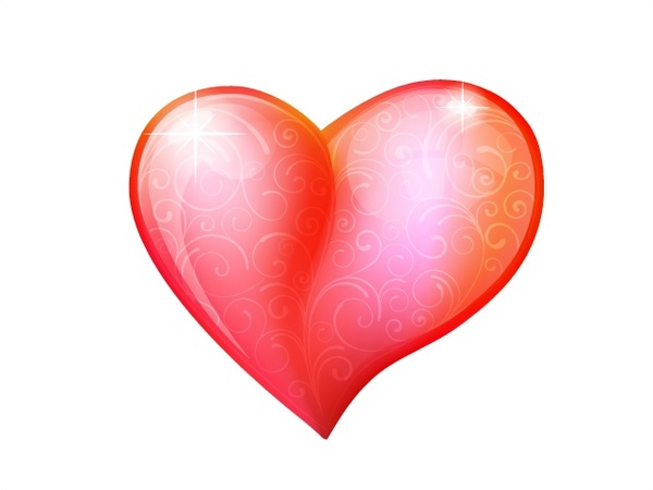 shiny red heart vector illustration on white background