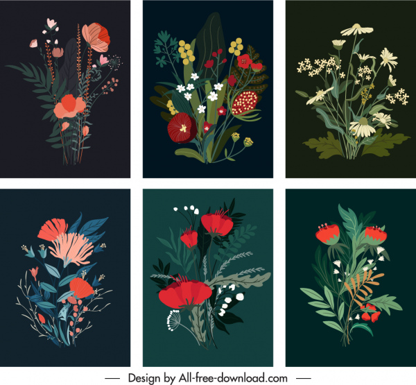 floral painting templates colorful elegant dark classic