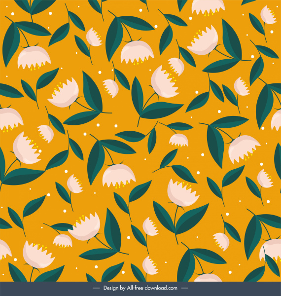 floral pattern colored classic repeating decor