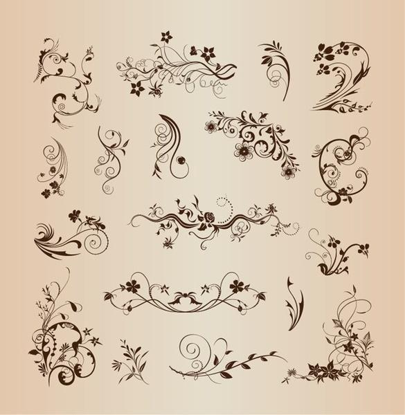 floral pattern elements for decoration