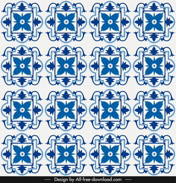 floral pattern template blue symmetrical repeating decor