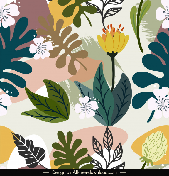 floral pattern template bright colorful elegant handdrawn classic