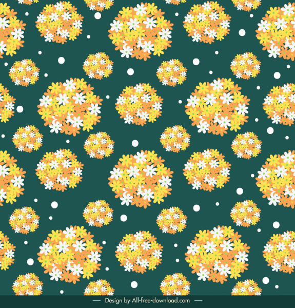 floral pattern template bright repeating petals modern flat