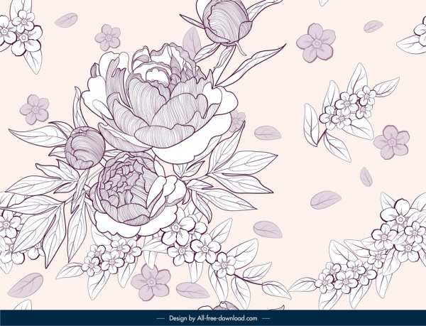 floral pattern template classical handdrawn sketch