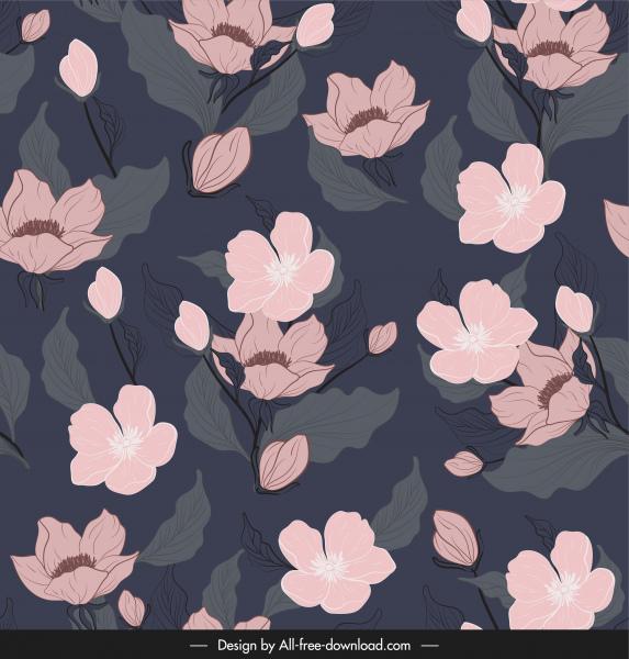 floral pattern template dark retro handdrawn sketch