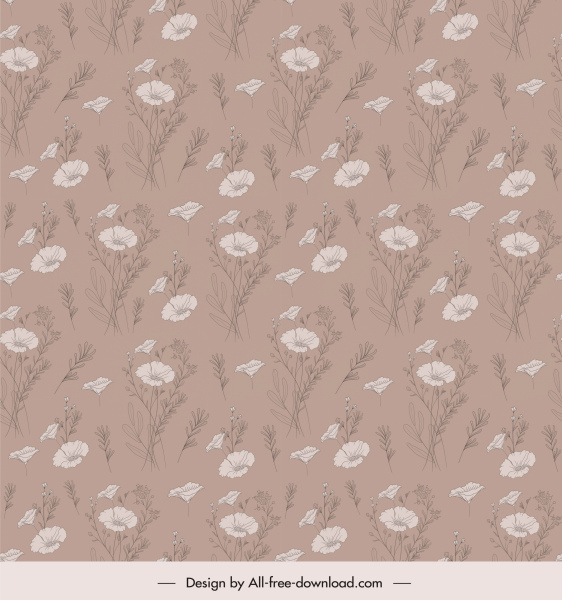 floral pattern template elegant dark retro