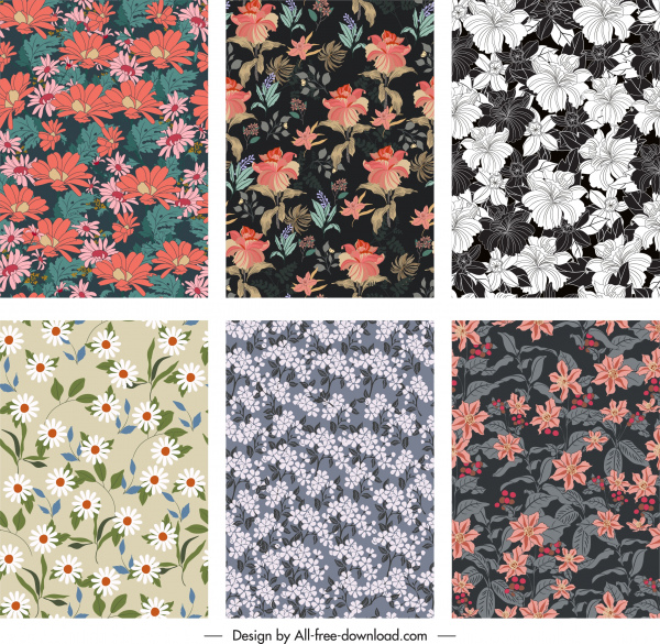 floral pattern templates elegant classical blooming design