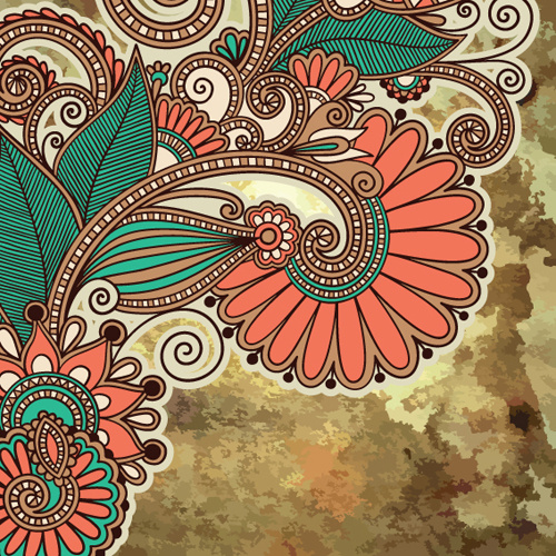 Floral Patterns With Grunge Backgrounds Vector Free Vector In