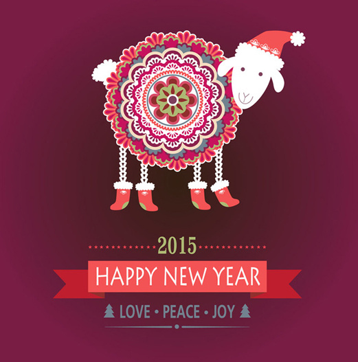 floral sheep15 new year background vector