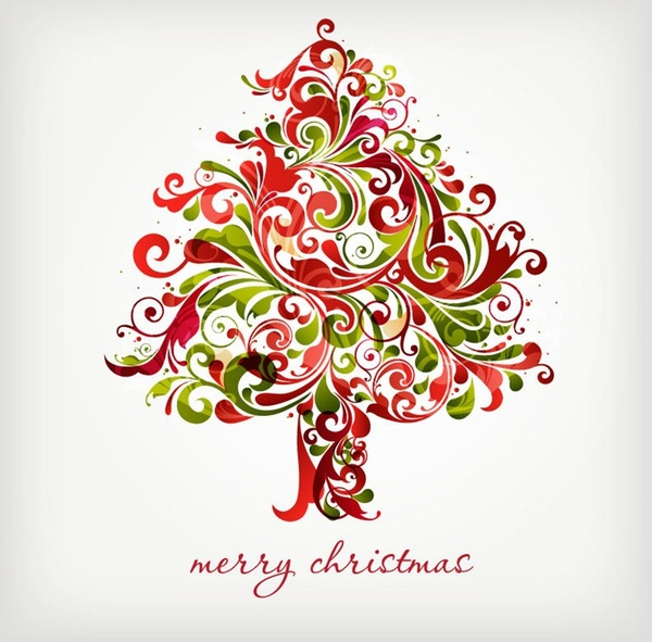 Christmas Graphics Free.Floral Swirls Tree For Christmas Vector Graphic Free Vector