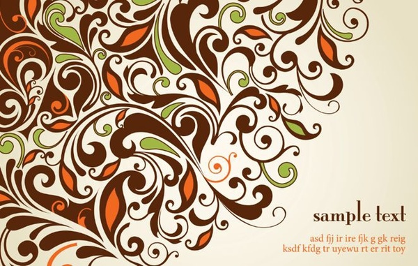 floral background classical curves ornament