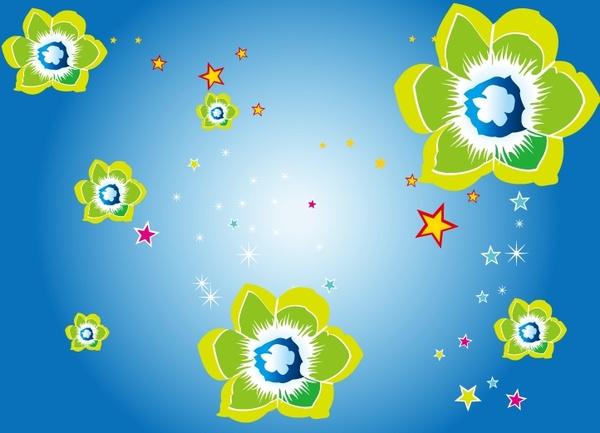 stars floral background bright sparkling design style