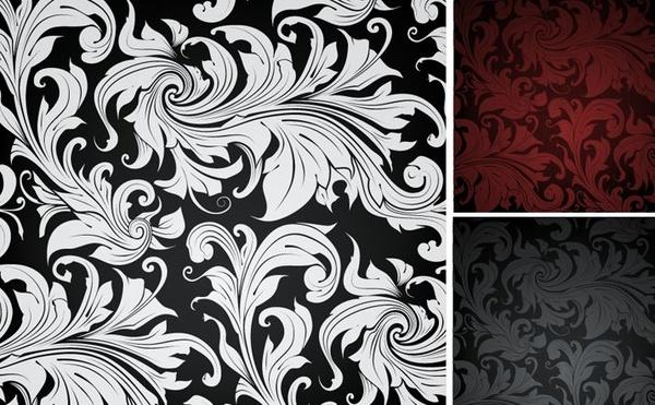 floral pattern background sets vintage style dark design