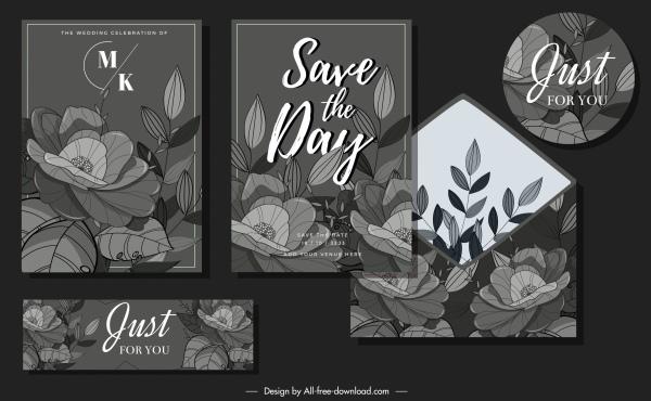 floral wedding card templates elegant dark blooming sketch