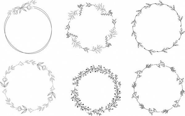 floral wreath design elements black white circles sketch