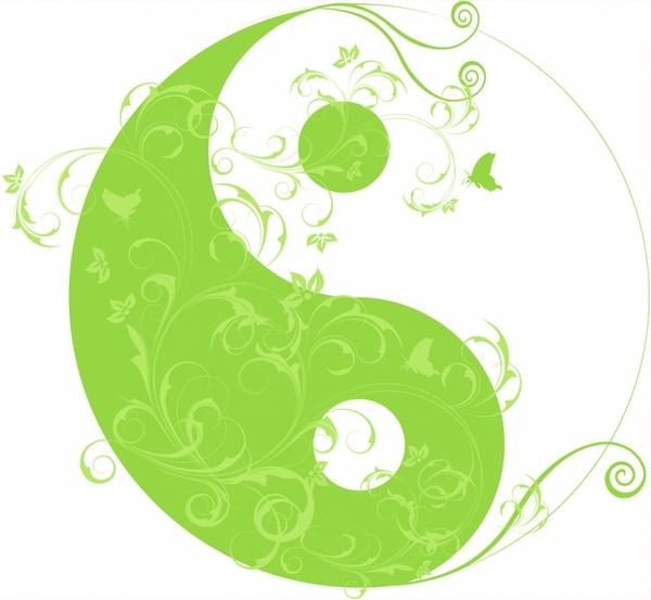 Floral Yinyang Symbol Free Vector In Adobe Illustrator Ai