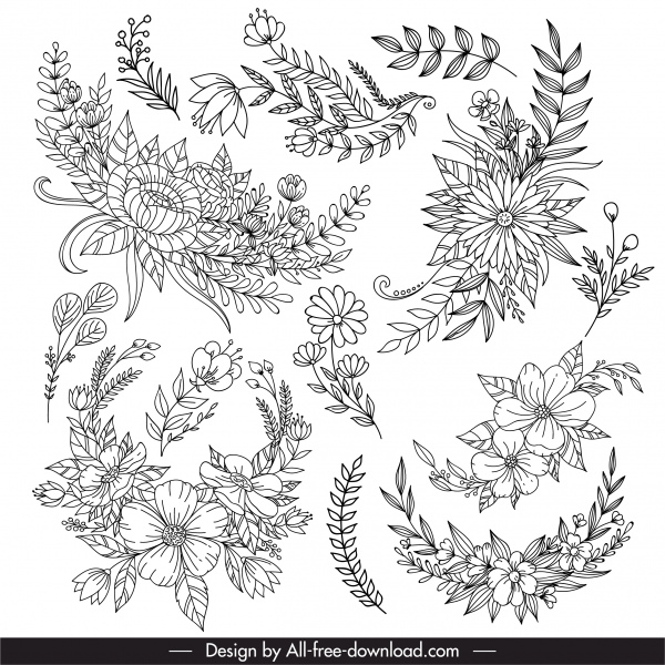 floras leaf icon black white lineart design