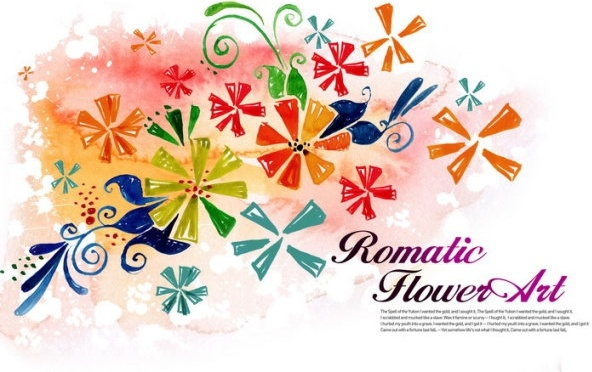flower art watercolor pattern background psd layered 6