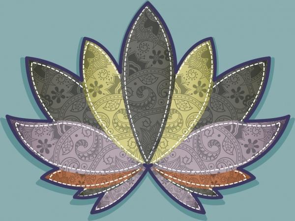 flower background classical decoration stitch style design