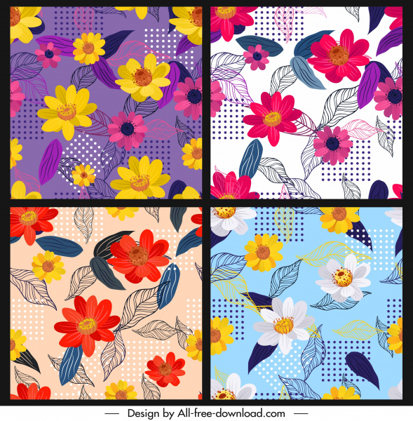 flower background templates colorful classical sketch