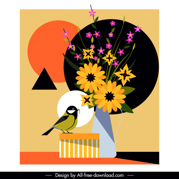 flower bird background colorful classic flat design