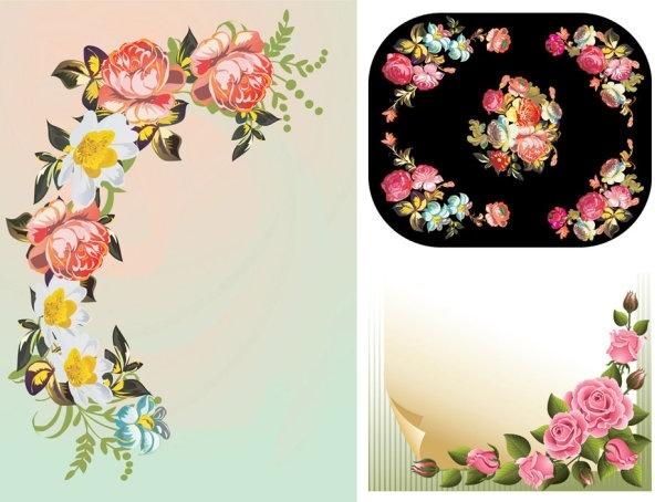 flower corners pattern vector