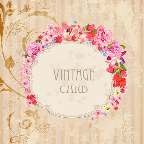 flower frames labels card vector set