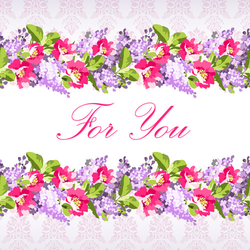 flower frames with pattern vector background
