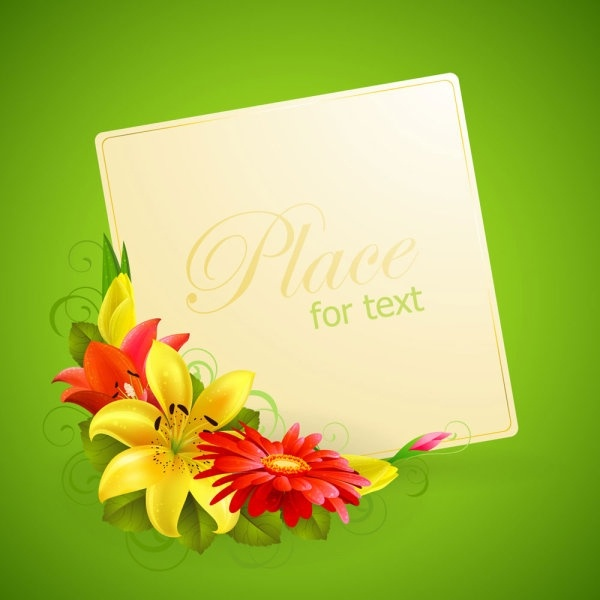 Flower Greeting Cards 02 Vector
