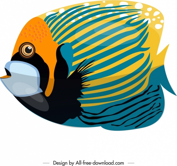 flower horn fish painting colorful flat design