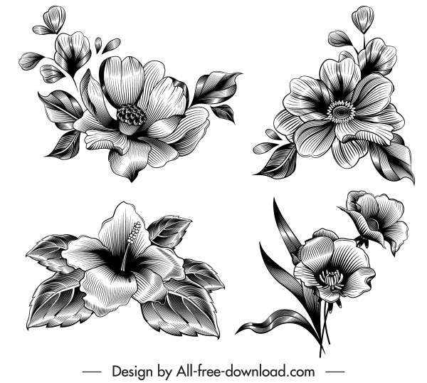flower icons black white 3d retro sketch