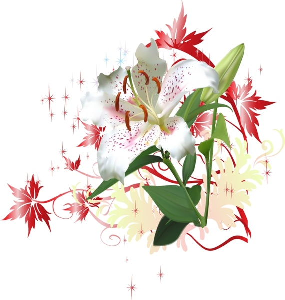 white flower background colorful realistic style