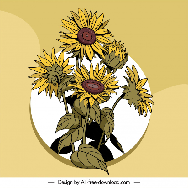 flower painting colored retro handdrawn design
