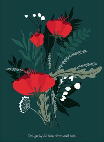 flower painting dark classical handdrawn design