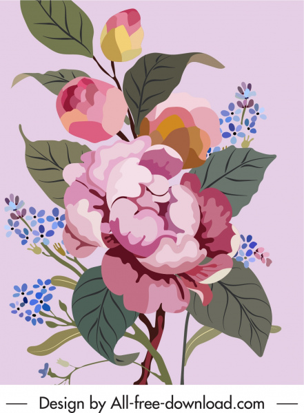 flower painting elegant colorful vintage design