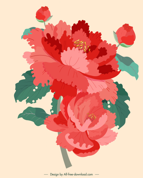 flower painting red green retro design