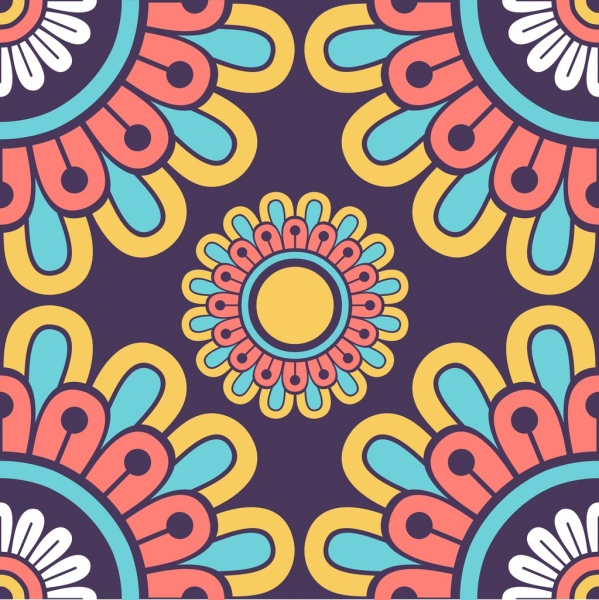 flower pattern colorful classical flat symmetric closeup decor