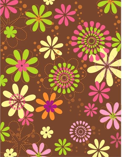 Flower Retro Daisy Bubble Pattern