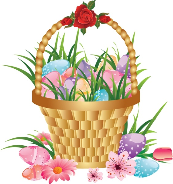 easter background flowers basket eggs icons decor