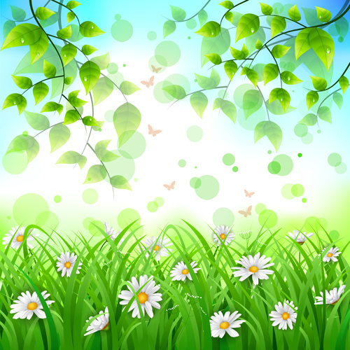 flower with green leaves spring background vector