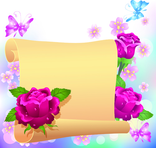 Flower With Paper Dream Background Vector Free Vector In