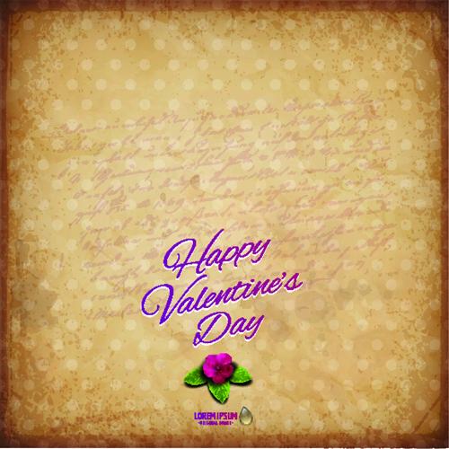 flower with vintage valentine day background vector