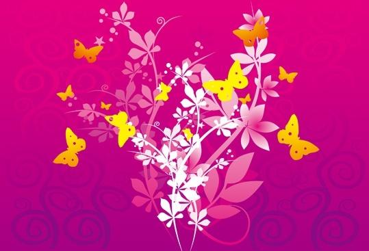 flowers butterflies background colorful vignette design