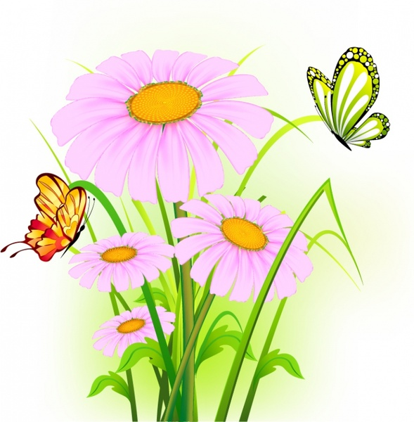 nature background colorful modern flowers butterflies decor